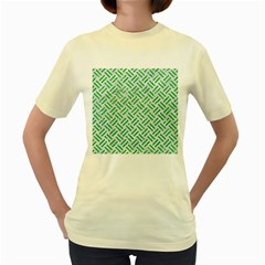 Woven2 White Marble & Green Glitter (r) Women s Yellow T Shirt