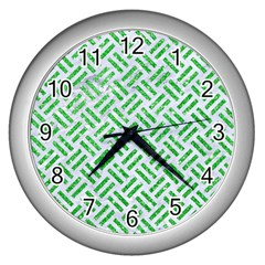 Woven2 White Marble & Green Glitter (r) Wall Clock (silver) by trendistuff