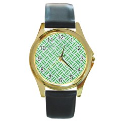 Woven2 White Marble & Green Glitter (r) Round Gold Metal Watch by trendistuff