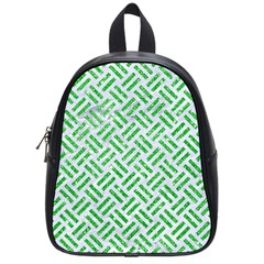 Woven2 White Marble & Green Glitter (r) School Bag (small) by trendistuff