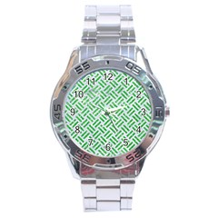 Woven2 White Marble & Green Glitter (r) Stainless Steel Analogue Watch by trendistuff