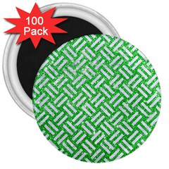 Woven2 White Marble & Green Glitter 3  Magnets (100 Pack)
