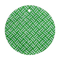 Woven2 White Marble & Green Glitter Round Ornament (two Sides)