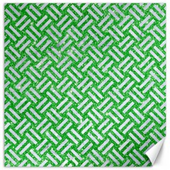 Woven2 White Marble & Green Glitter Canvas 12  X 12
