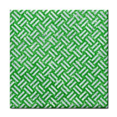 Woven2 White Marble & Green Glitter Face Towel by trendistuff