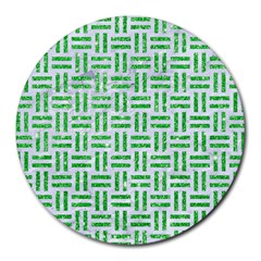 Woven1 White Marble & Green Glitter (r) Round Mousepads