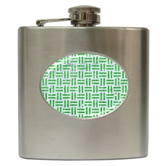 Woven1 White Marble & Green Glitter (r) Hip Flask (6 Oz) by trendistuff