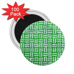 Woven1 White Marble & Green Glitter 2 25  Magnets (100 Pack)  by trendistuff