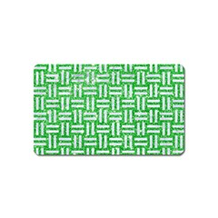 Woven1 White Marble & Green Glitter Magnet (name Card) by trendistuff