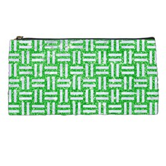 Woven1 White Marble & Green Glitter Pencil Cases by trendistuff