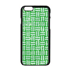 Woven1 White Marble & Green Glitter Apple Iphone 6/6s Black Enamel Case by trendistuff