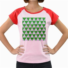 Triangle3 White Marble & Green Glitter Women s Cap Sleeve T Shirt by trendistuff