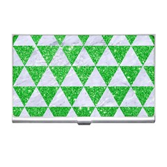 Triangle3 White Marble & Green Glitter Business Card Holders by trendistuff