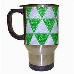 Triangle3 White Marble & Green Glitter Travel Mugs (white) by trendistuff