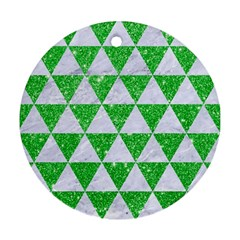 Triangle3 White Marble & Green Glitter Round Ornament (two Sides) by trendistuff
