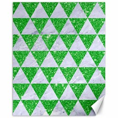 Triangle3 White Marble & Green Glitter Canvas 11  X 14   by trendistuff
