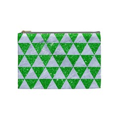 Triangle3 White Marble & Green Glitter Cosmetic Bag (medium) by trendistuff