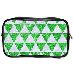 Triangle3 White Marble & Green Glitter Toiletries Bags 2 Side by trendistuff