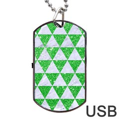 Triangle3 White Marble & Green Glitter Dog Tag Usb Flash (one Side) by trendistuff