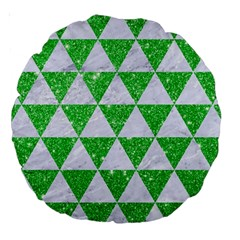 Triangle3 White Marble & Green Glitter Large 18  Premium Round Cushions by trendistuff