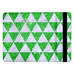 Triangle3 White Marble & Green Glitter Samsung Galaxy Tab Pro 12 2  Flip Case by trendistuff