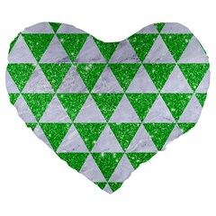 Triangle3 White Marble & Green Glitter Large 19  Premium Flano Heart Shape Cushions by trendistuff