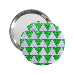 Triangle2 White Marble & Green Glitter 2 25  Handbag Mirrors by trendistuff