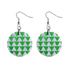 Triangle2 White Marble & Green Glitter Mini Button Earrings by trendistuff