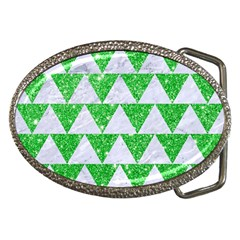 Triangle2 White Marble & Green Glitter Belt Buckles by trendistuff