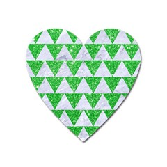 Triangle2 White Marble & Green Glitter Heart Magnet
