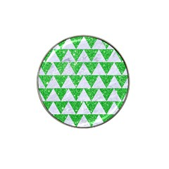 Triangle2 White Marble & Green Glitter Hat Clip Ball Marker by trendistuff
