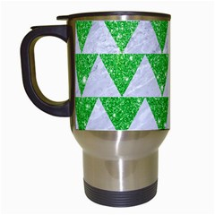 Triangle2 White Marble & Green Glitter Travel Mugs (white) by trendistuff