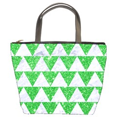 Triangle2 White Marble & Green Glitter Bucket Bags by trendistuff