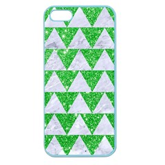 Triangle2 White Marble & Green Glitter Apple Seamless Iphone 5 Case (color) by trendistuff