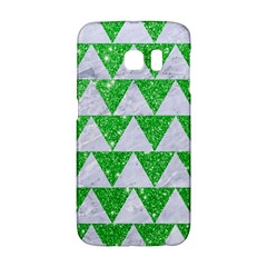 Triangle2 White Marble & Green Glitter Samsung Galaxy S6 Edge Hardshell Case by trendistuff