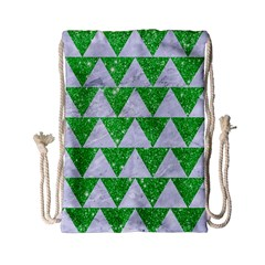 Triangle2 White Marble & Green Glitter Drawstring Bag (small) by trendistuff