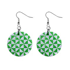 Triangle1 White Marble & Green Glitter Mini Button Earrings by trendistuff
