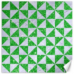 Triangle1 White Marble & Green Glitter Canvas 12  X 12   by trendistuff