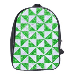Triangle1 White Marble & Green Glitter School Bag (large) by trendistuff