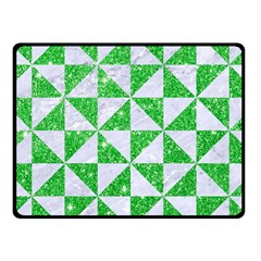 Triangle1 White Marble & Green Glitter Fleece Blanket (small) by trendistuff