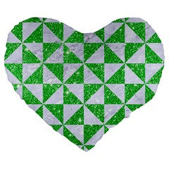 Triangle1 White Marble & Green Glitter Large 19  Premium Heart Shape Cushions by trendistuff