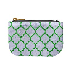Tile1 (r) White Marble & Green Glitter Mini Coin Purses by trendistuff