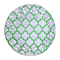 Tile1 (r) White Marble & Green Glitter Ornament (round Filigree) by trendistuff