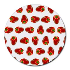 Red Peppers Pattern Round Mousepads by SuperPatterns