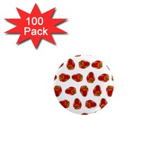 Red Peppers Pattern 1  Mini Magnets (100 Pack)  by SuperPatterns