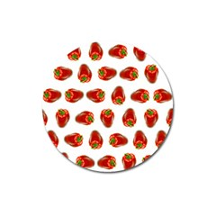 Red Peppers Pattern Magnet 3  (round) by SuperPatterns