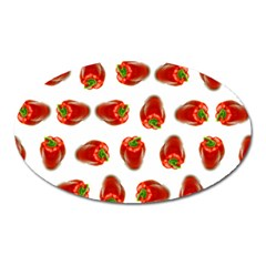 Red Peppers Pattern Oval Magnet by SuperPatterns