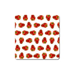 Red Peppers Pattern Square Magnet by SuperPatterns