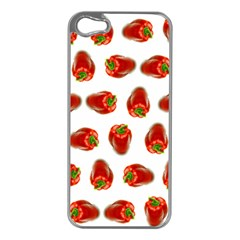 Red Peppers Pattern Apple Iphone 5 Case (silver)