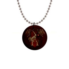 Awesome T Rex Skeleton, Vintage Background Button Necklaces by FantasyWorld7